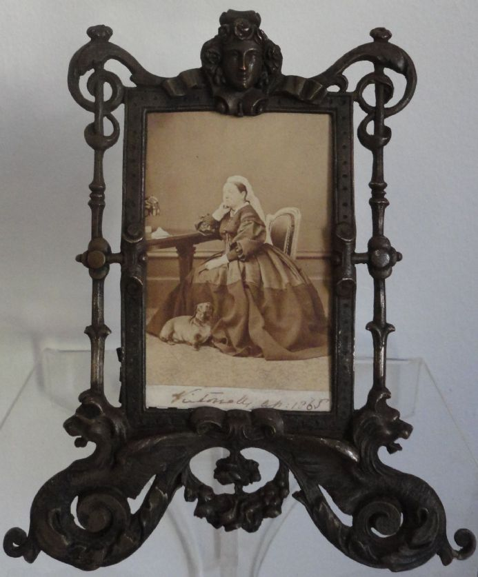 Queen Victoria Signed Albumen Photo Seated with her Pet Dachshund Dacko 1865